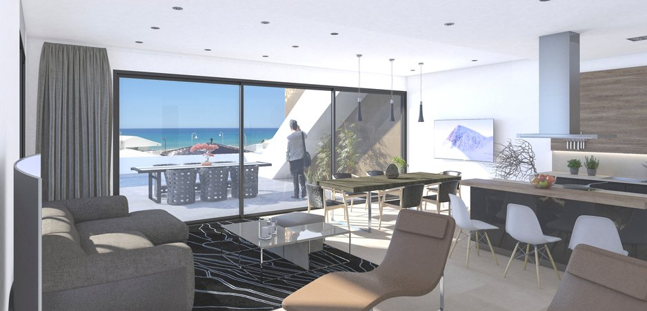 Large open plan living area with fantastic view of the sea
